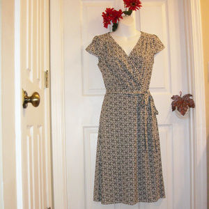 Ann Taylor LOFT Wrap Look Dress Cap Sleeve